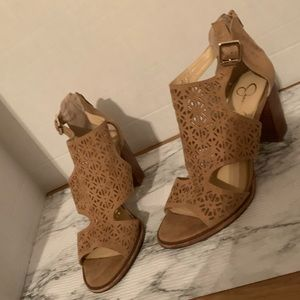 Jessica Simpson Suede Canvas Fabric Top Heels